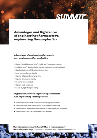 Preview: Advantages of Engineering Thermosets over Thermoplastics