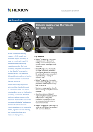 Preview: Application Bulletin: Bakelite® Engineering Thermosets for Pump Parts